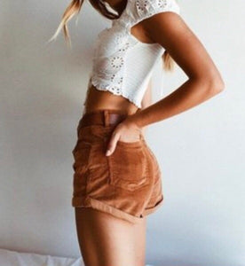 High Waisted Corduroy Shorts