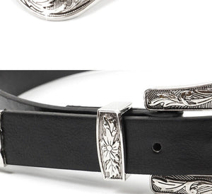 Metal Tipped Vegan Leather Belt