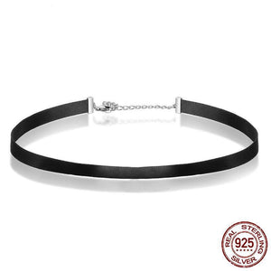 Sterling Silver & Black Choker Necklace