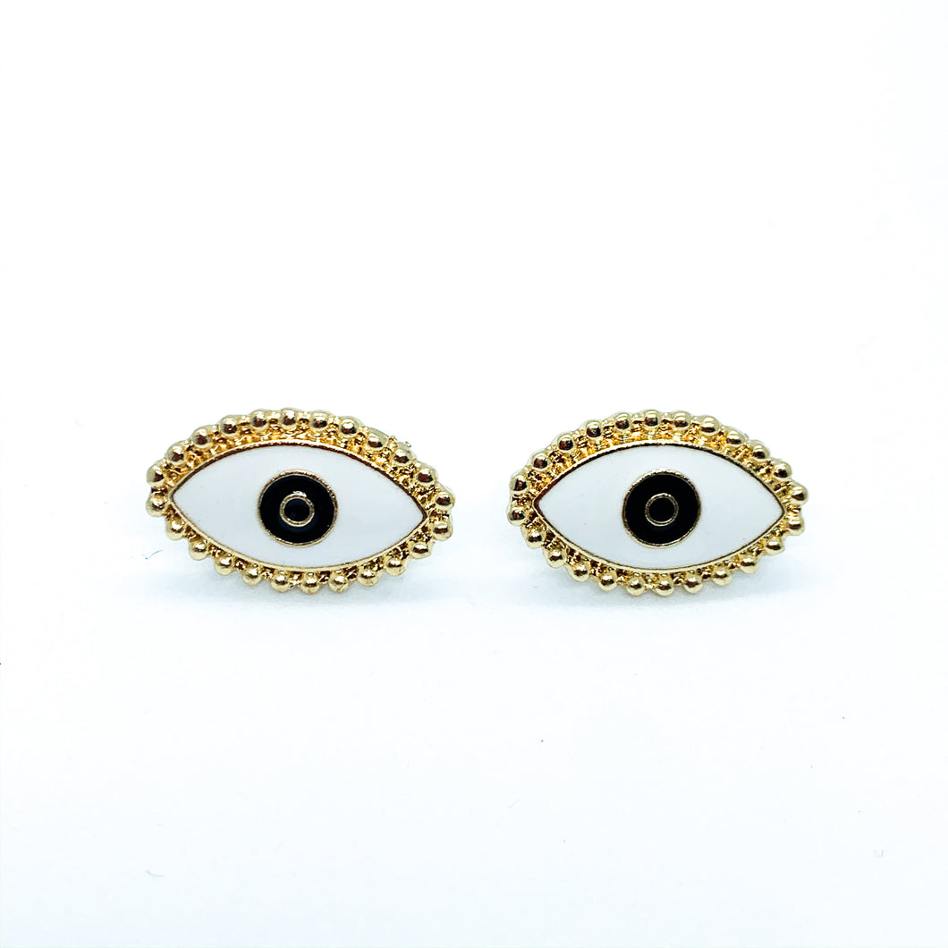 White and Gold Eye Earrings
