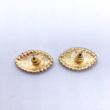 Load image into Gallery viewer, White and Gold Eye Earrings