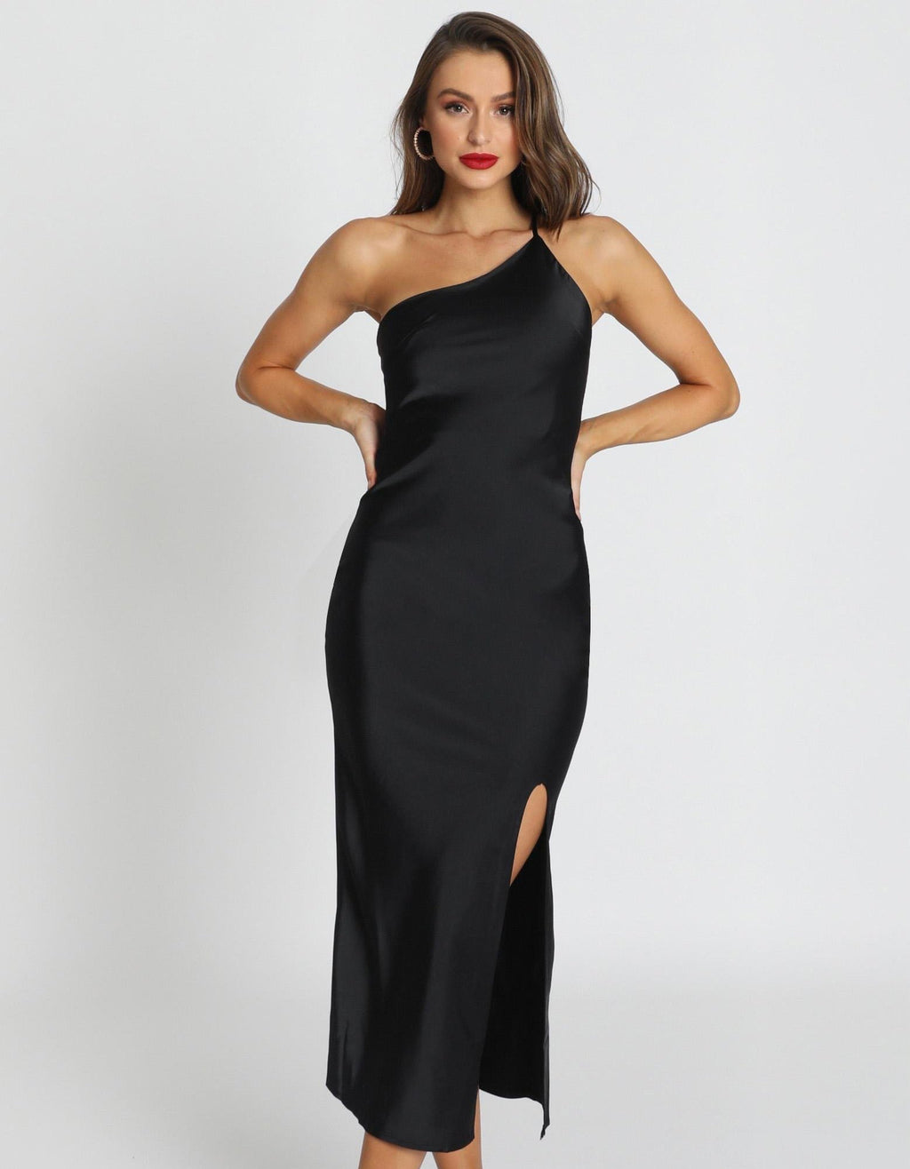 Nor Black One Shoulder Satin Dress
