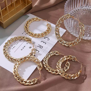 Vern Chain Gold Hoops