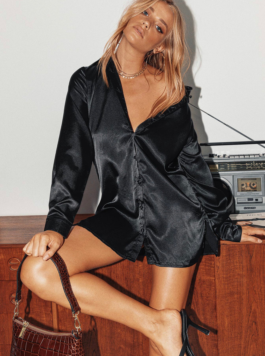 Allora Black Satin Shirt Dress