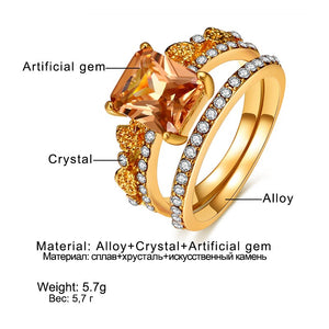 Rosemary Gold Crystal Champagne Ring