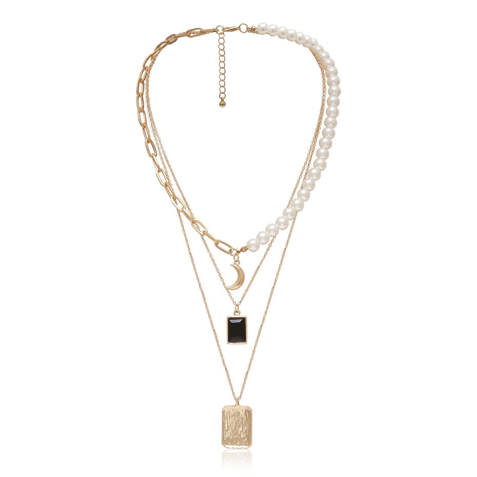 Malachi Linked Pearl Necklace Layered