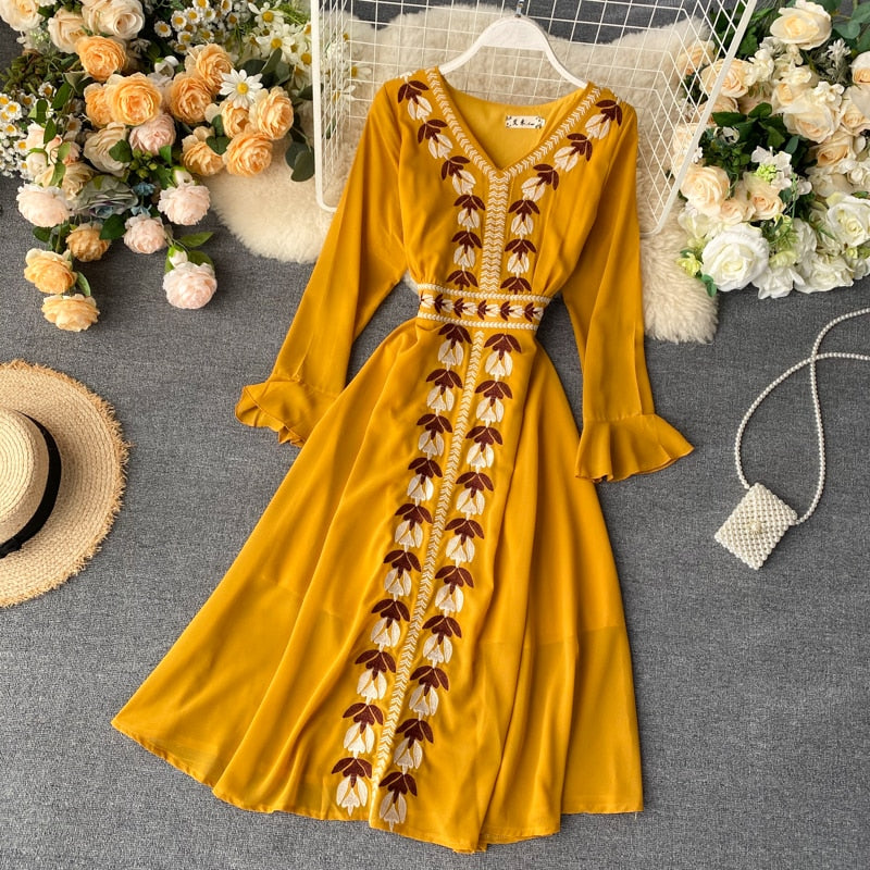 Eva Boho Embroidery Dress