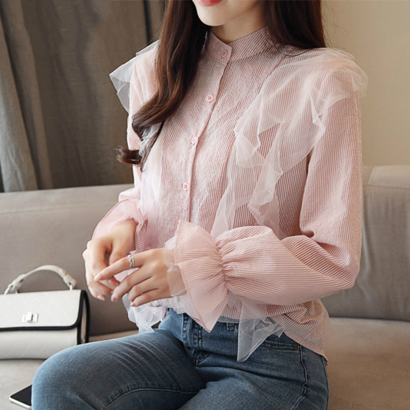 Willow Chiffon Spliced Lace Shirt