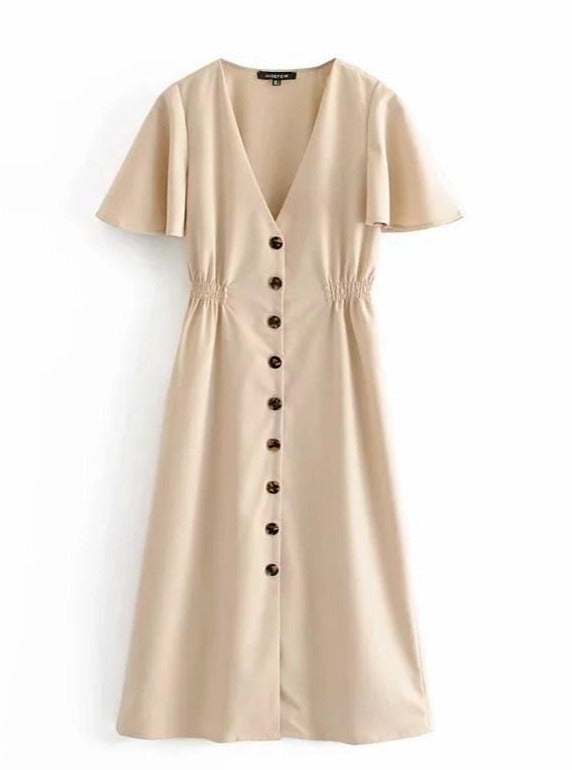 Maize V-neck Frill Linen Dress