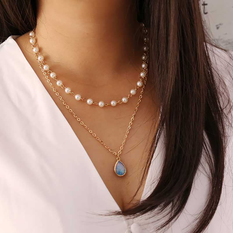 Rome Water Drop Pearl Necklace