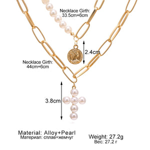 Pearly Affair Multi-layer Coin Necklace