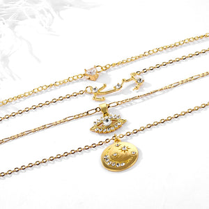 Raina Trendy Charm Necklace Multi-layer Evil Eye