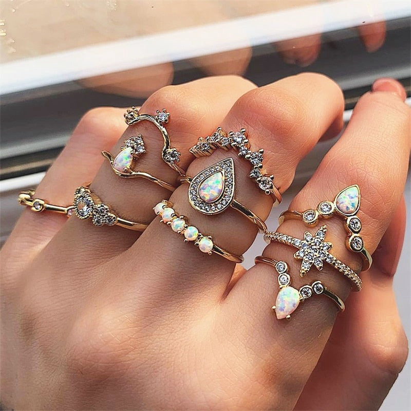 Princess 10Pcs/Set Crystal Rings