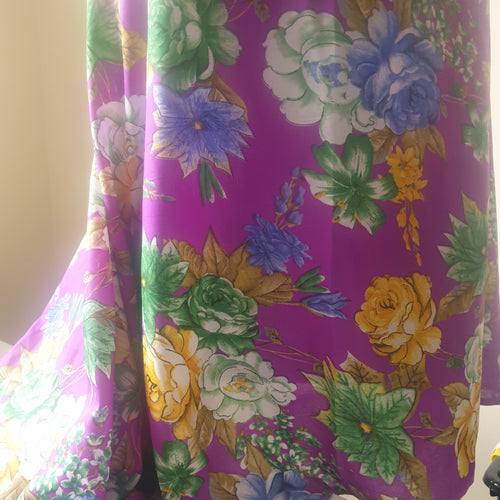 Rayon Fabric - Purple Floral - You've Got Me In Stitches