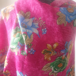 100% Rayon Fabric - Floral Print - Fuschia, Blues, Greens and oranges - You've Got Me In Stitches