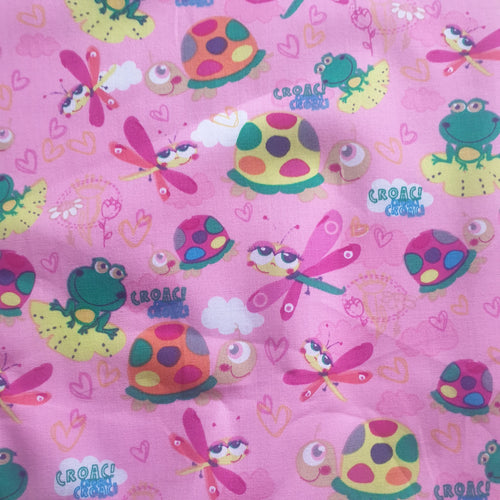 Kids Cotton poplin Fabric fairytale print - pink