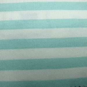 Mint and White Stripe - 2 way stretch 100% Cotton Jersey Fabric