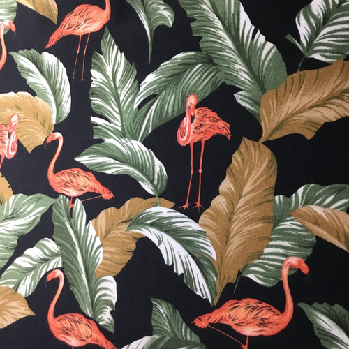Tropical Flamingo Cotton Poplin Fabric