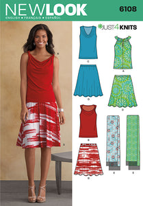New Look Pattern 6108 Misses' Top, Skirt and Scarf