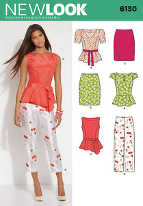 New Look Pattern 6130 Misses' Top, Pants, Skirt and Belt