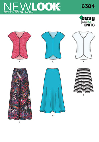New Look Pattern 6384 Misses' Knit Top, Skirt and Pants
