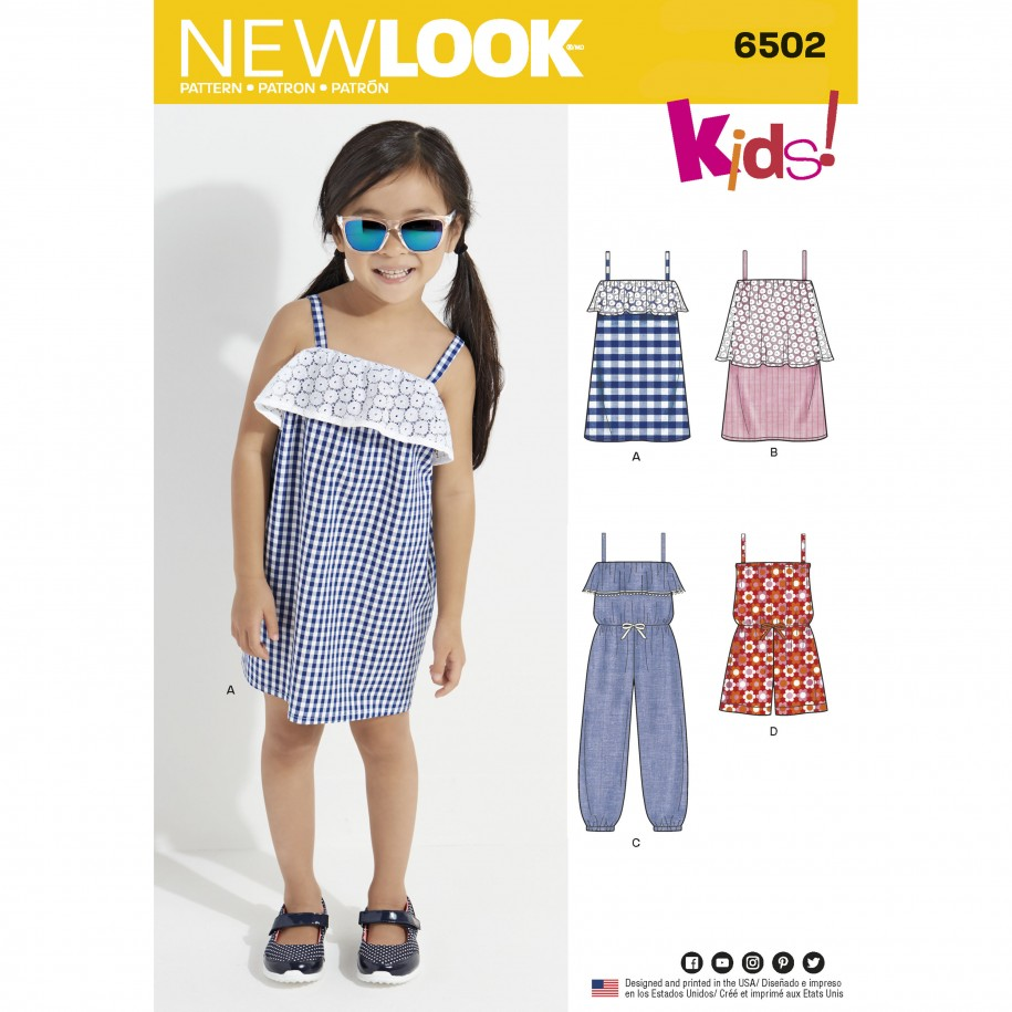 New Look Pattern 6502 – Child's Jumpsuit/Romper and Dresses
