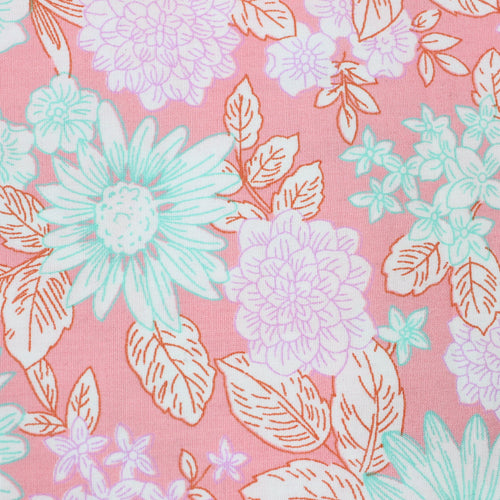 Peach Floral Cotton Poplin Fabric