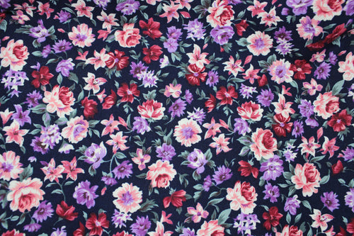 Navy Background Floral Cotton Poplin Print Fabric
