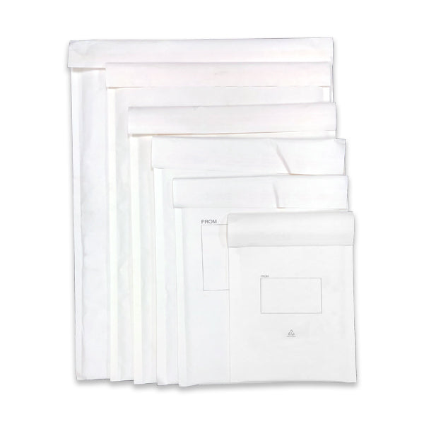 White Kraft Bubble Padded Mailing Bags - End Opening