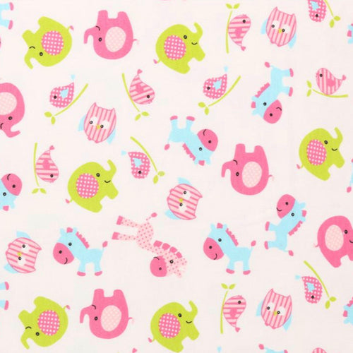 Cute Animals - Pink, Blue and Green - 2 way stretch 100% Cotton Jersey fabric - You've Got Me In Stitches