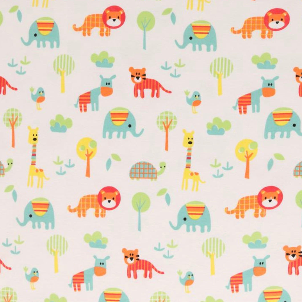 Elephants, Giraffes and Turtles - 2 way stretch 100% Cotton Jersey fabric - You've Got Me In Stitches