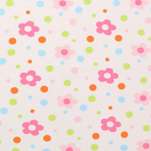 Flowers and Polka dots - 2 way stretch 100% Cotton Jersey fabric - You've Got Me In Stitches