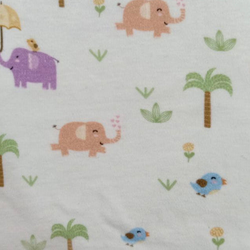 Elephants and birds - 2 way stretch 100% Cotton Jersey fabric - You've Got Me In Stitches