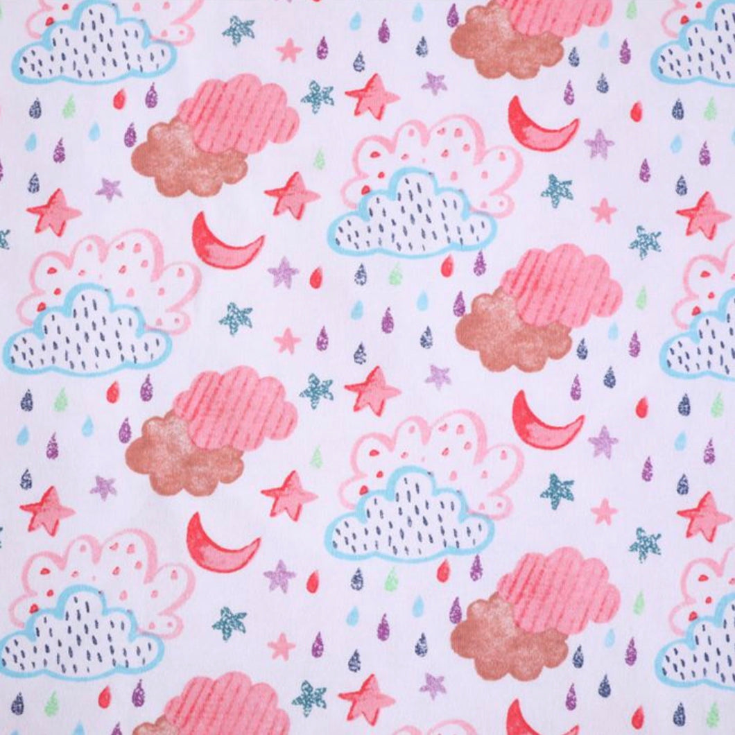Hand drawn clouds, moon and stars - 2 way stretch 100% Cotton Jersey fabric - You've Got Me In Stitches