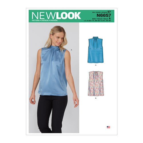 New Look Pattern N6657 Misses' Shell Top With or Without Pleated Neckband & Back Bow