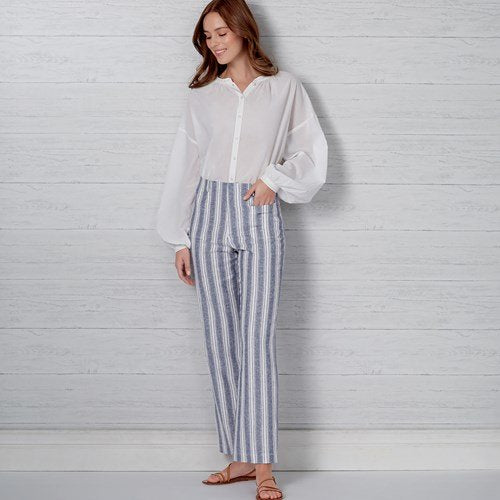 New Look Pattern N6660 Misses' High Waisted Flared Pants In Two Lengths