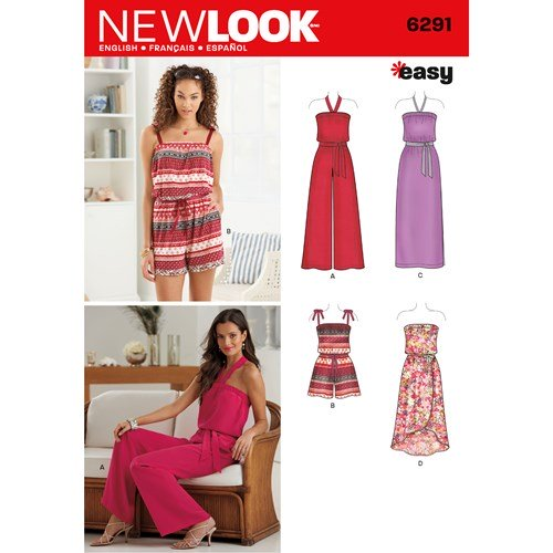 New Look Pattern 6291 Misses' Jumpsuit & Dress Each in Two Lengths