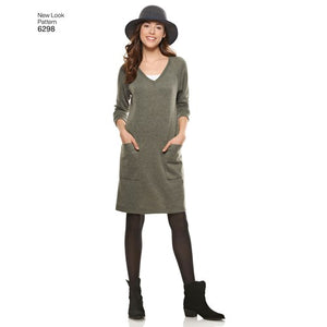 New Look Pattern 6298 Misses' Knit Dress with Neckline & Length Variations