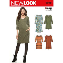 Load image into Gallery viewer, New Look Pattern 6298 Misses' Knit Dress with Neckline & Length Variations