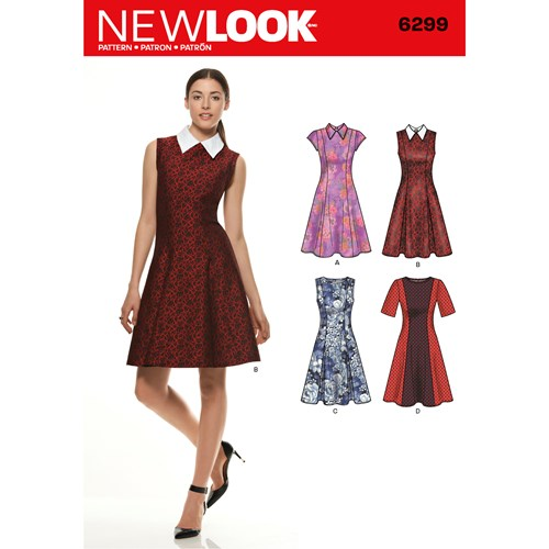 New Look Pattern 6299 Misses' Dress with Neckline & Sleeve Variations