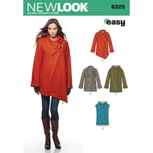 Load image into Gallery viewer, New Look Pattern 6325 Misses' Easy Coat with Length and Front Variations, and Vest