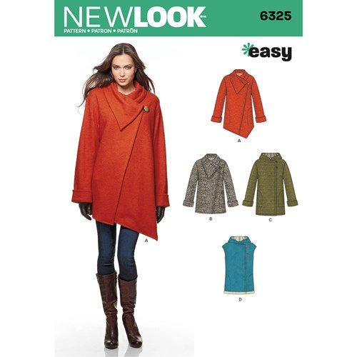New Look Pattern 6325 Misses' Easy Coat with Length and Front Variations, and Vest