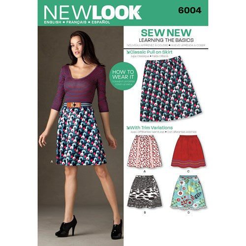 New Look Pattern 6004 Misses' Learn to Sew Skirts