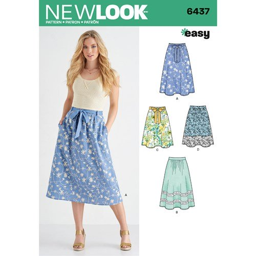 New Look Pattern  6437 Misses' Skirt in Two Lengths with Fabric Variations