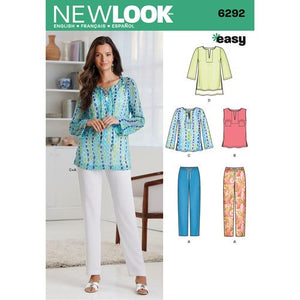 New Look Pattern 6292 Misses' Tunic or Top and Pull-on Pants