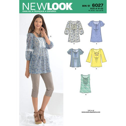 New Look Pattern 6027 Misses' Tunic or Tops
