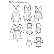 Load image into Gallery viewer, New Look Pattern 6345 Misses' V-Neck Tops with Length Variations