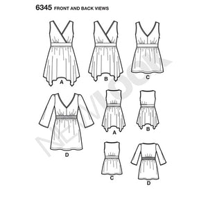 New Look Pattern 6345 Misses' V-Neck Tops with Length Variations
