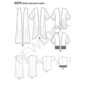 New Look Pattern 6378 Misses' Easy Kimonos with Length Variations