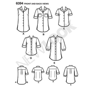 New Look Pattern 6394 Misses' Button Front Tops